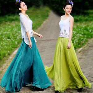 2015-women-long-skirts-summer-new-retro-lady-full-circle-boho-gauze-chiffon-long-pleated-maxi