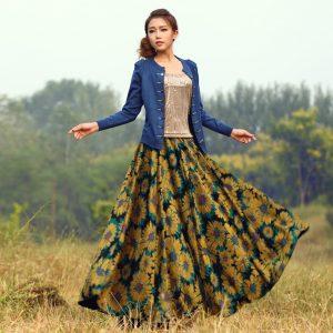 2015-autumn-thickening-high-waist-skirt-women-vintage-flower-print-long-skirt-mopping-the-floor-winter